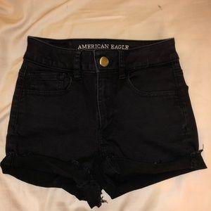 AE black hi-rise shortie jean shorts